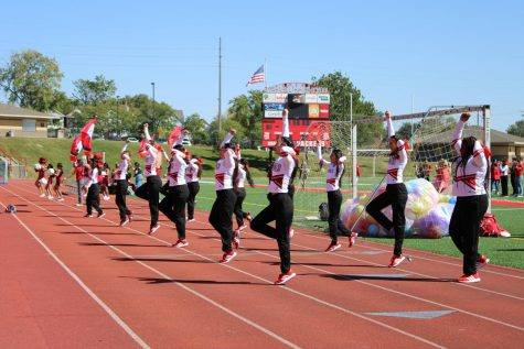 South Highs cheer and dance team perform at South Highs first Pep Rally of the 2021 school year.